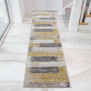 Details About Ochre Yellow Grey Striped Hallway Runners Long Narrow Modern Hall Runner Rugs Uk