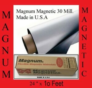 """24"""" width x 10Ft ROLL 30 Mil.Blank Magnetic Sign Sheet Cars Magnum"""