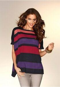 Multi-Color-Feinstrick-Pullover-Von-Laura-Scott-Gr-36-Fledermaus-Neu