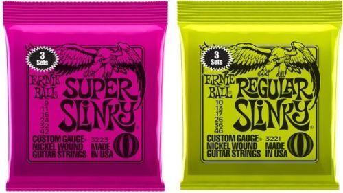 3 Sets of Ernie Ball Super /& Regular Slinky Electric Guitar Strings Drop Down