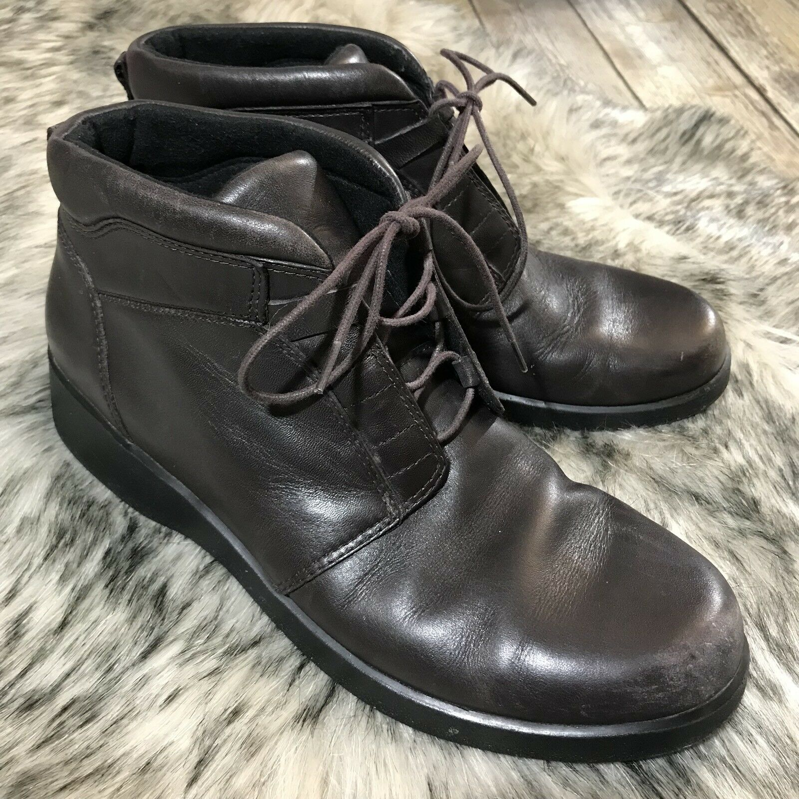 Clarks LEATHER Brown Lace Up Ankle Boots Casual Workwear Womens Size 9.5 M