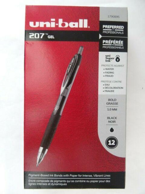 uni-ball Signo 207 Retractable GEL Pen Black Ink 1mm Dozen 1790895 for sale online