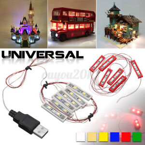 Universal 4 LED Light USB Lighting Kit For Lego Toy Bricks Round Lamp Type