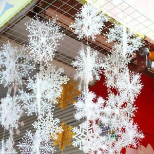60PCS-Christmas-White-Snowflakes-Decorations-Xmas-Tree-Party-Ornaments-11-13CM