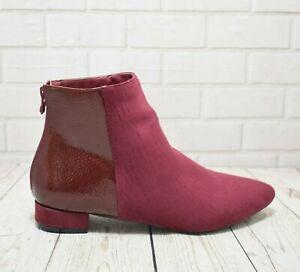 Womens Kaleidoscope Burgundy Zip Up Low Heel Ankle Boots RRP-£39