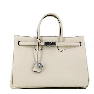 STUDIO-MUNET-Classic-Creme-Beige-Silber-Icone-35-Tote-Leder-Bag-Handtasche