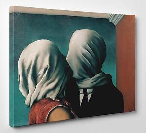 Quadro-Magritte-Gli-Amanti-Stampa-su-Tela-vernice-Pennellate-Poster-Pannello-Mdf