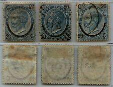 REGNO - 1865 - U - 20 cent Ferro di Cavallo i tre colori diversi (23+24+25)