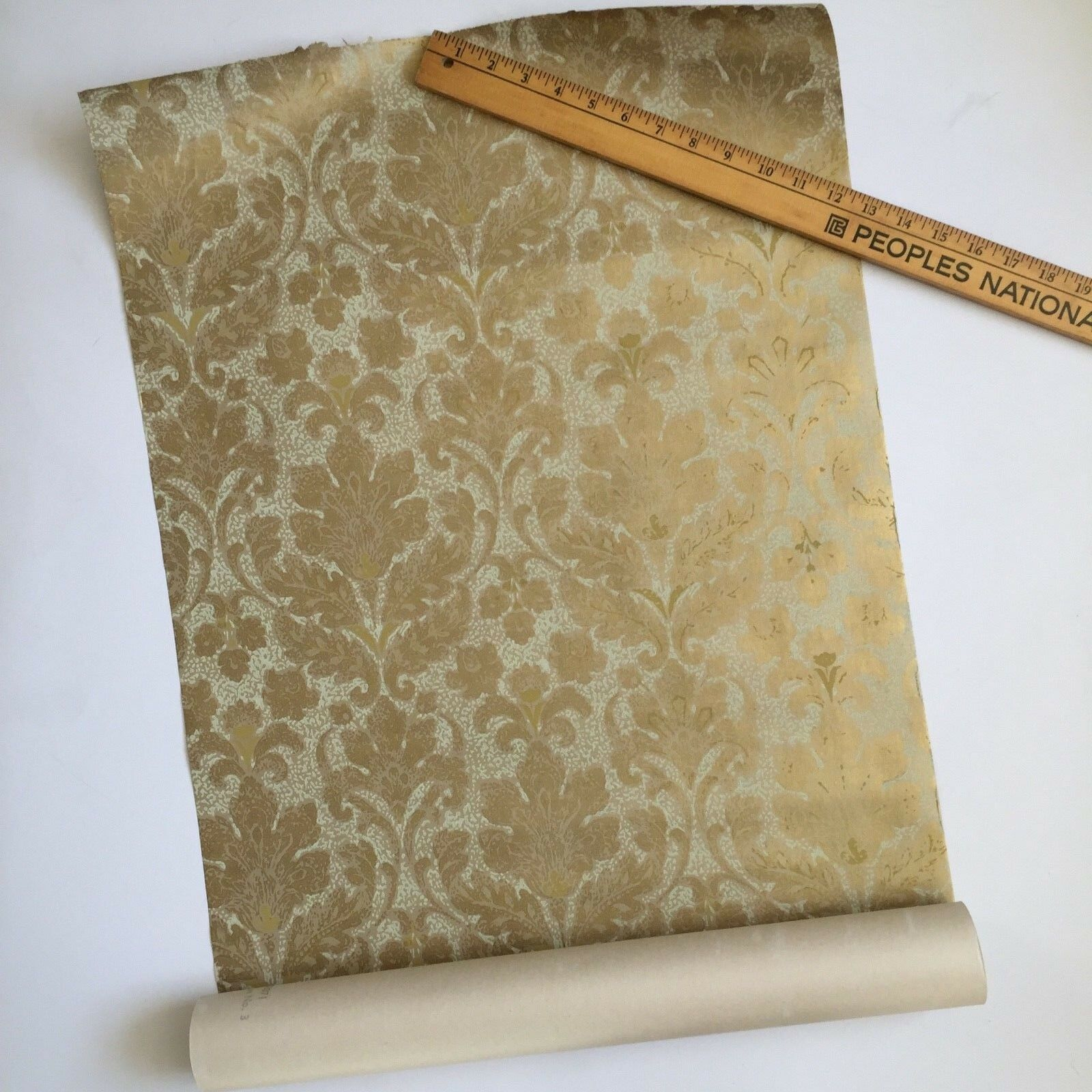Vintage Mid Century Wallpaper Gold Foil Union Made USA