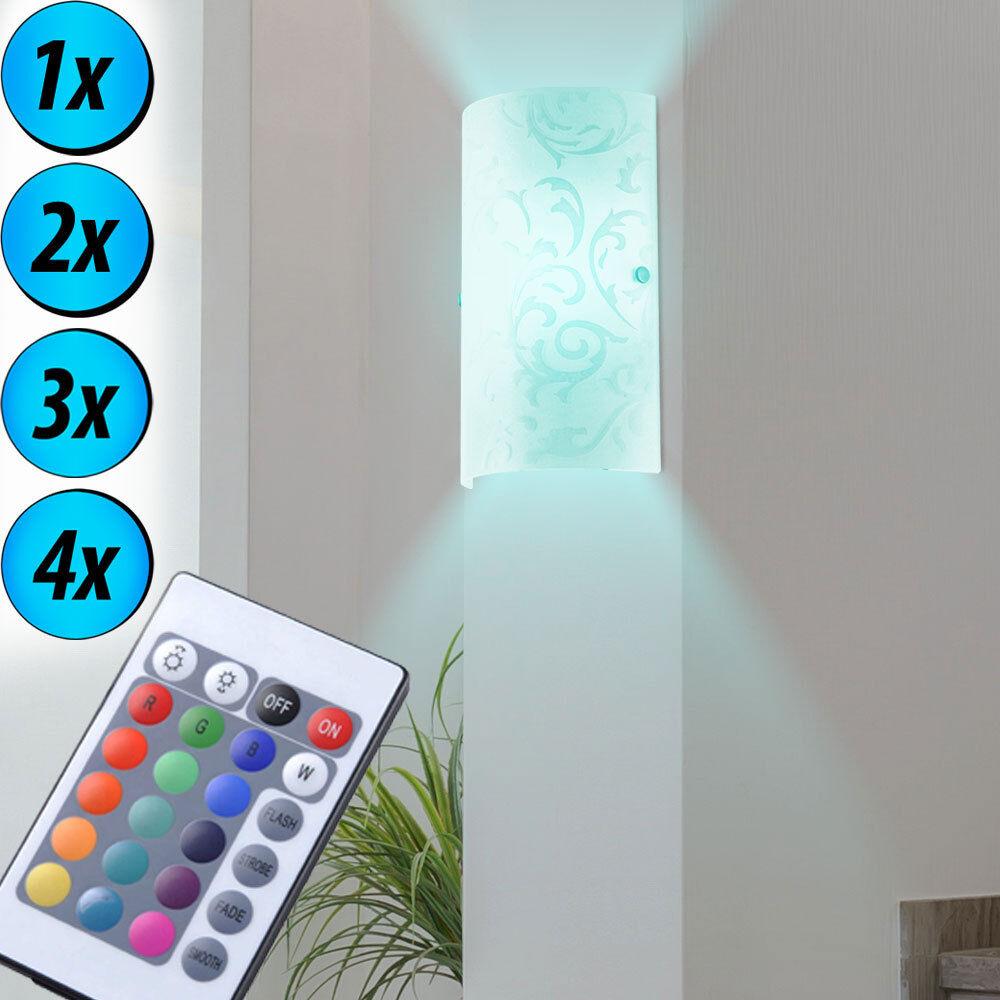 1-4x RGB LED Glas Wand Leuchten Wohn Schlaf Schlaf Schlaf Zimmer Fernbedienung  Dimmer Lampen | Große Klassifizierung  57107b