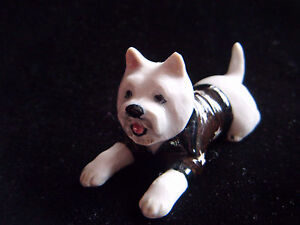Sweet little china West Highland Terrier in a star print coat ornament