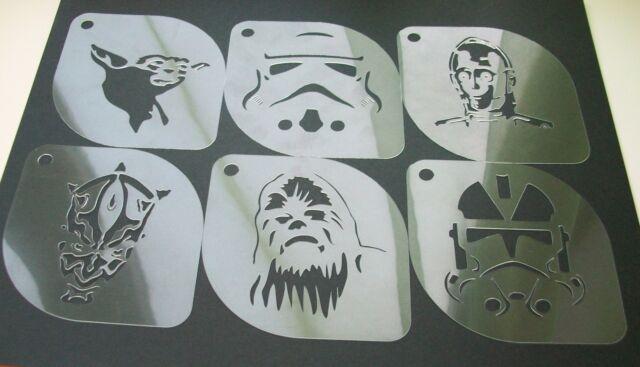 Set Of 6pcs Star Wars Yoda Sandtrooper C 3PO Darth Maul Chewbacca Clone Stencil