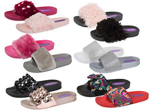 4f2b9d669c3 Details about Womens Diamante Fur Sliders Fluffy Mules Slippers Flip Flops  Sandals Girls Shoes