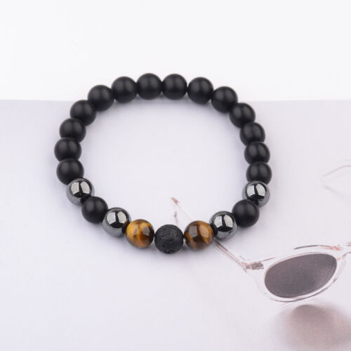 10 Mm Noir Onyx lave Hématite Tigers Eye Gemstone Charm Men/'s Perles Bracelets