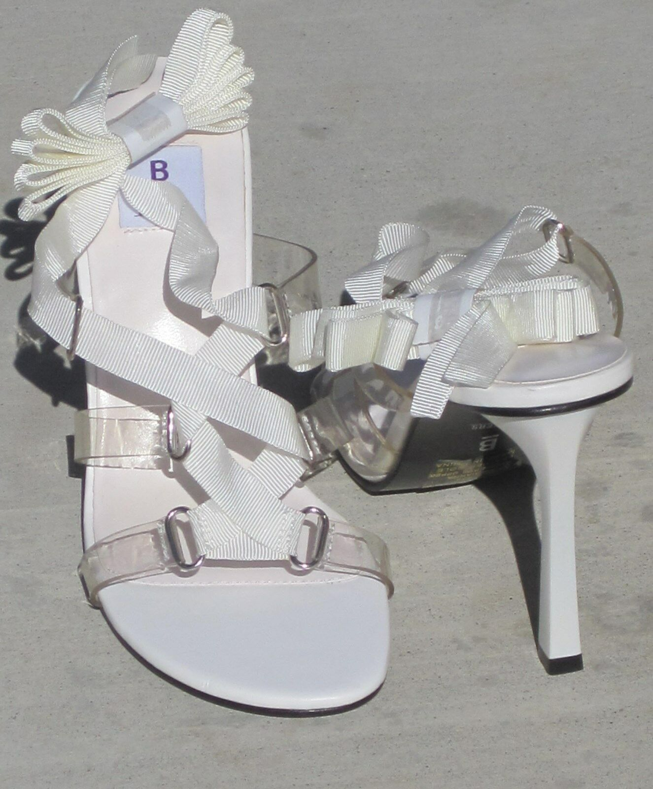 NEW BAKERS WHITE RIBBON CLEAR PLASTIC HEELS PUMPS SHOES 8M ANKLE TIE GIANNA