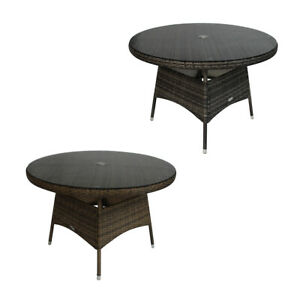 Charles Bentley 4 Seater Round Rattan Dining Table - Grey / Natural