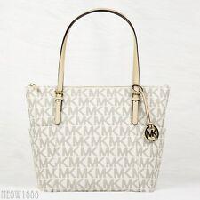 New Michael Kors JET SET Vanilla Signature Logo Top Zip Tote Shoulder Bag Purse