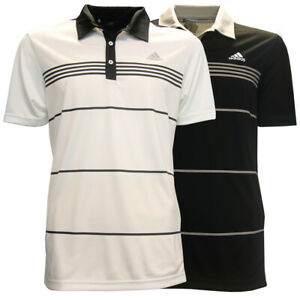 Adidas-Golf-Men-039-s-Black-Stripe-Polo-Shirt-NEW