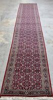 3 X 20 Bijar Hand Knotted Wool Red Navy Oriental Rug Runner