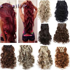 100-Natural-Hair-Clip-in-Hair-Extensions-8-Pieces-Full-Head-Long-As-Human-hg90