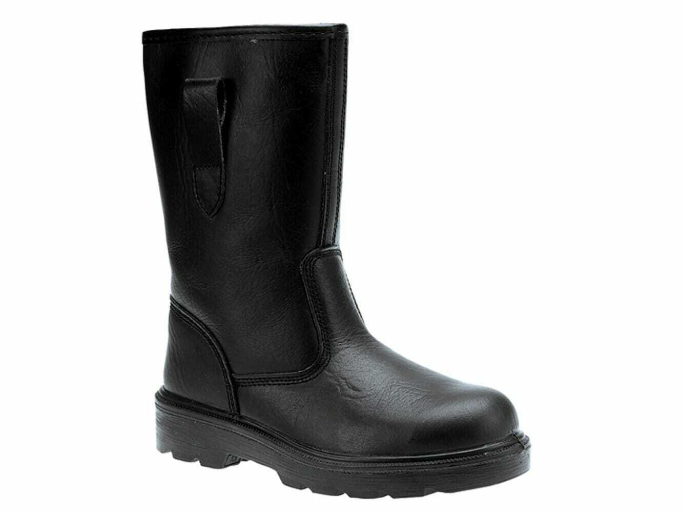Grafters Mens Leather Comfy Industrial Steel Toe Safety Rigger Boots Black