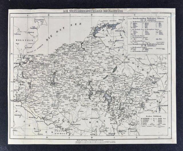 1847 Flemming Map Mecklenburg Germany Rostock Goldberg Schwern