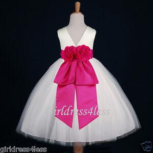7ac7c1e72b4 IVORY FUCHSIA PARTY BRIDAL JR. BRIDESMAIDS FLOWER GIRL DRESS 18M 2 4 ...