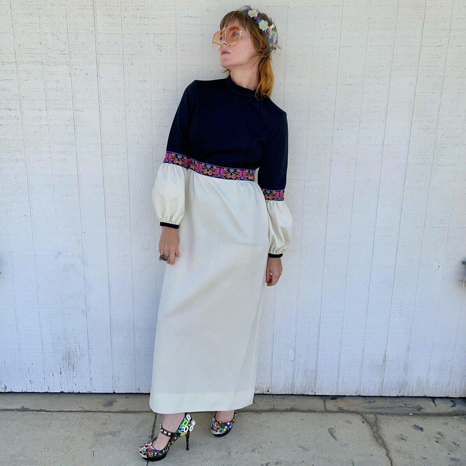 Vintage Fairycore Maxi Dress Hippie Clothes Puffy… - image 8