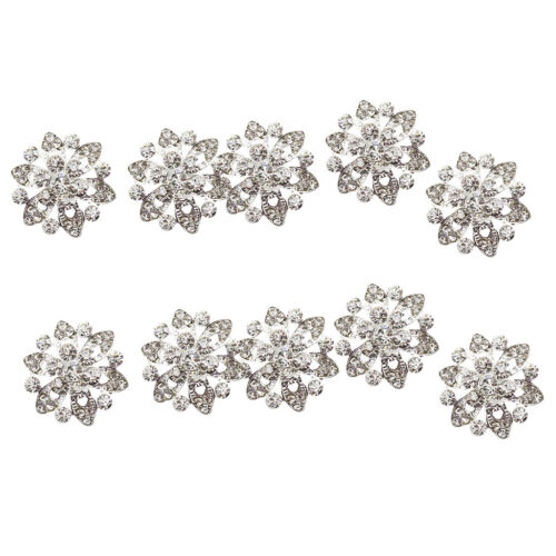 10x Crystal Rhinestone Flower Shank Buttons for DIY Brooch Sewing Craft 22mm