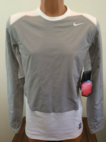 Mens Size Medium M Gray White Nike Pro Combat Hyperwarm Fitted Shirt Base Layer