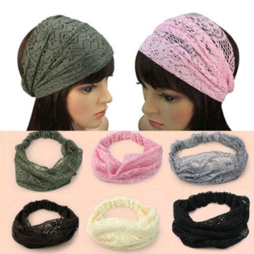 Hot Sale Women Girls Chic Bandana Turban Lace Hair Head Wraps Wide Headband
