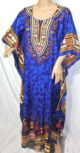 buy popular d1d3c 86df9 Dettagli su Jessica Taylor Donna Taglie Forti 1 x 2x 3 x Blu Dashiki  Caftano Abito Tunica