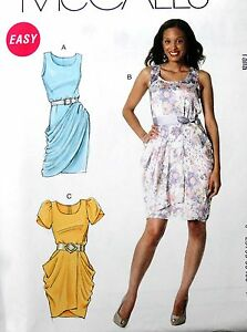 Details about McCALL\'S M6321 EASY SIDE DRAPED DRESS SEWING PATTERN MISSES\'  & PLUS SIZE SZ 8-24