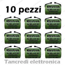 10x Batteria ricaricabile NiMh 4/5 SC 1,2V 2000mAh subC con linguette a saldare