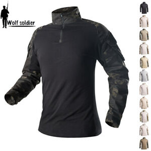 Mens-Tactical-Military-T-Shirts-Army-Combat-Long-Sleeve-Casual-Shirts-Camouflage