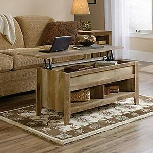 Details About Lift Top Coffee Table Oak With Storage Rustic Weathered Wood  Cocktail Furniture
