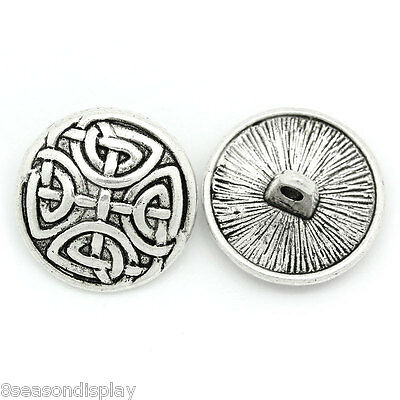 30PCs Sewing Buttons Silver Tone Round 17mm