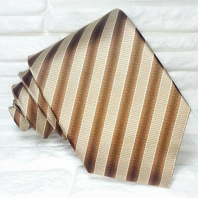 Cravatta Uomo Marrone E Beige Business 100% Seta Made In Italy Aspetto Elegante