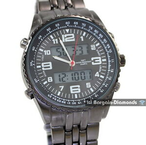 mens-digital-analog-dual-display-gunmetal-sports-watch-8-034-metal-bracelet