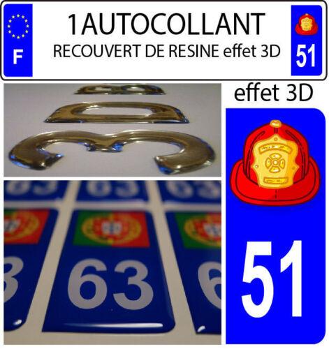 1 sticker plaque immatriculation auto DOMING 3D RESINE CASQUE DE POMPIER 2 DE 51