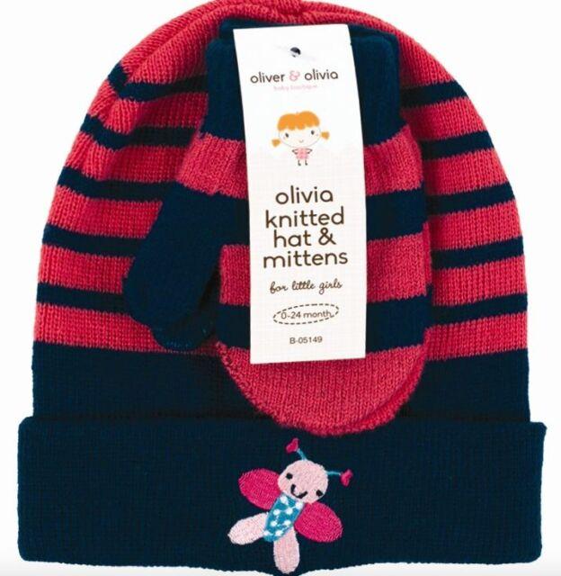 096c5edd4bb Oliver   Olivia Pink Striped Knitted Hat Mittens Gloves Set Age 0-24 ...