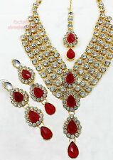 Designer Gold Plated Diamonds Kundan Stone Necklace Earrings Tika Jewellery Set