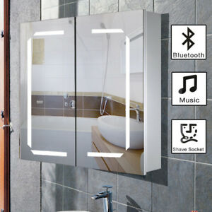 Bathroom Mirror Cabinet Led Light Up Wall Hung Bluetooth Shaver