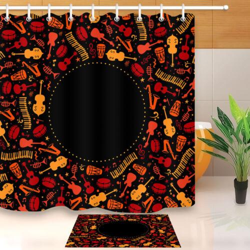 "72/""Africa /&Modern Music Bathroom Decor Waterproof Fabric Shower Curtain Hook Set"
