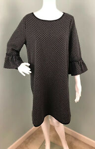 NWT-Womens-Max-Studio-3-4-Sleeve-Black-Gray-Geo-Jacquard-Shift-Dress-Sz-XL