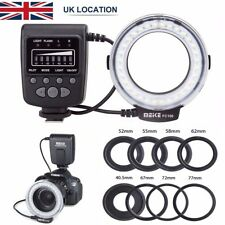 LED Macro Ring Flash Light for Nikon Canon Olympus DSLR Camera + 8 Lens Adapter