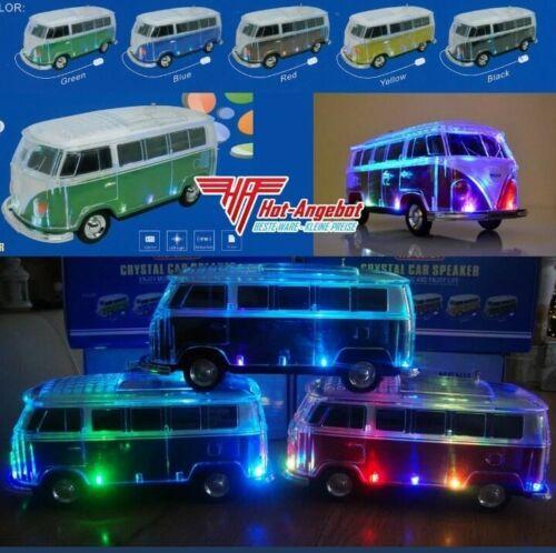 VW Bus Bulli Bluetooth Lautsprecher, LED, BT,MP3,USB,Radio,Musik Box, Sound Box