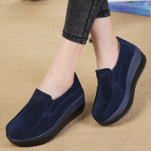 d0ff71ad5e5e Image is loading Breathable-Suede-Round-Toe-Slip-On-Platform-Womens-