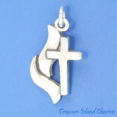 Sterling Silver  Large Methodist Cross /& Flame Pend