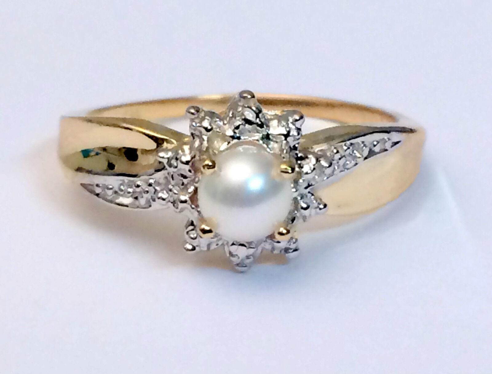 Genuine Birthstone Yellow 10k gold Diamond Pearl Engagement Wedding Ring June